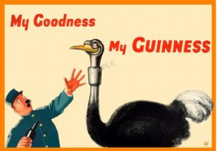 Vintage Guinness Poster Ostrich